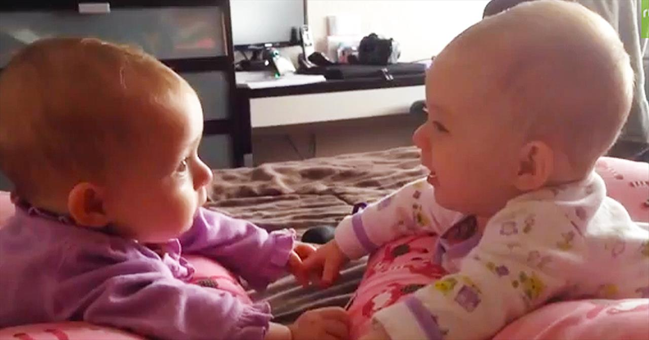 Twin Babies Hold Hands And Talk For The First T
