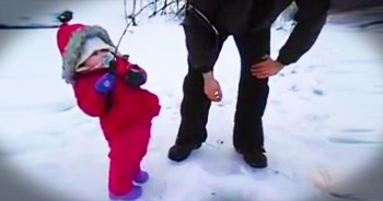 Adorable 2-Year-Old Catches Her First Fish