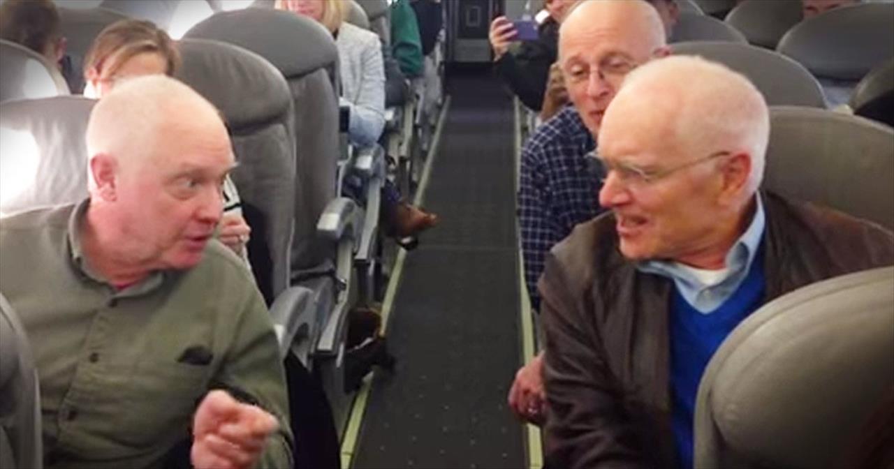 Barbershop Quartet Performs On Delayed Airplane