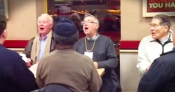 Elderly Men Sing Disney Classic In Local Restaurant