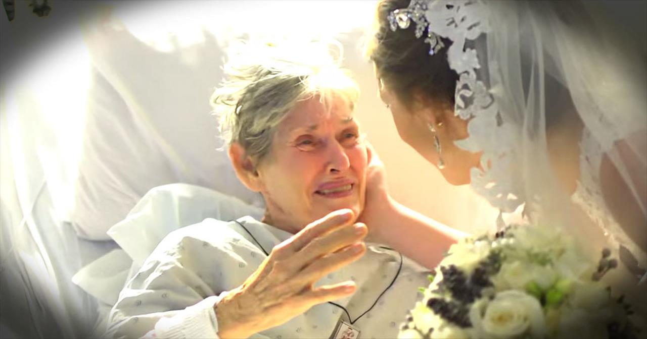 Bride Surprises Grandma At Hospital On Her Wedding Day