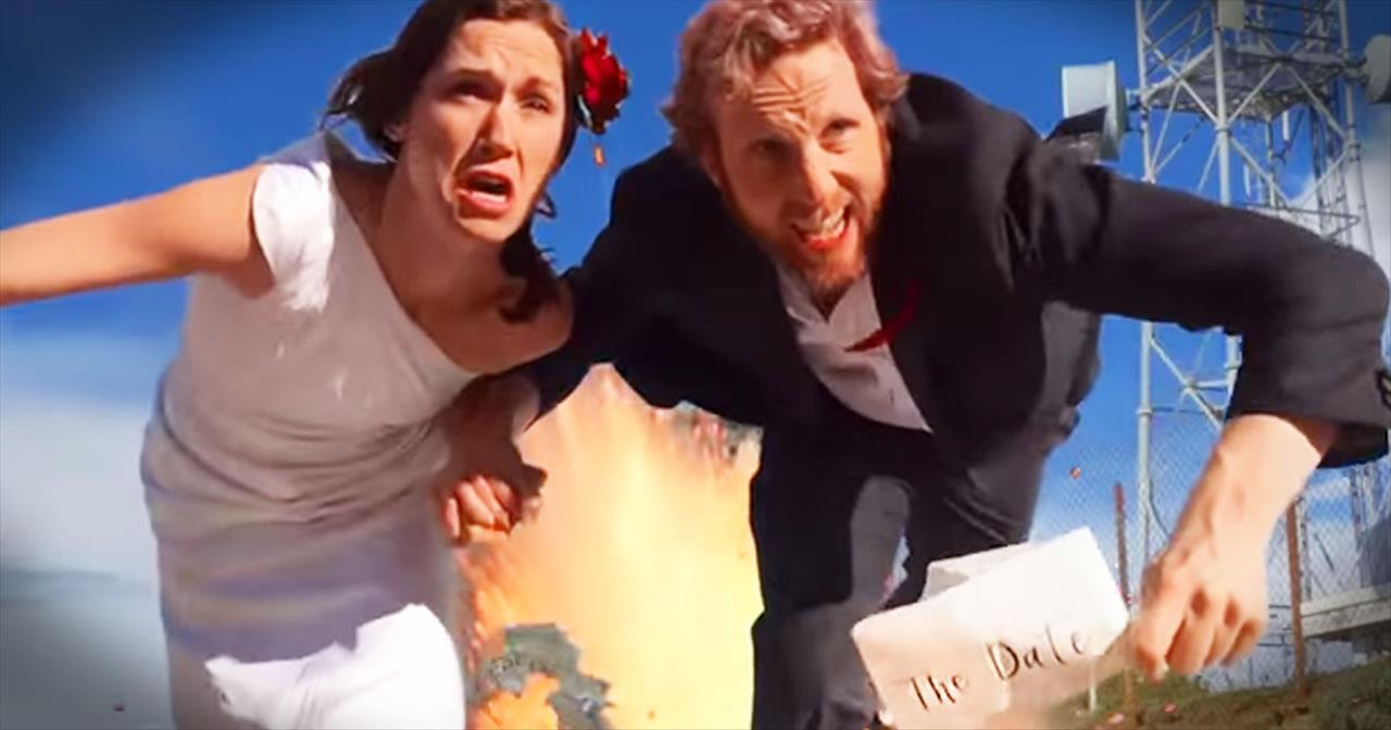 Couple Films Blockbuster Wedding Save The Date Video