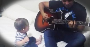 Baby Laughs Hysterically at Dad's Guitar Performance