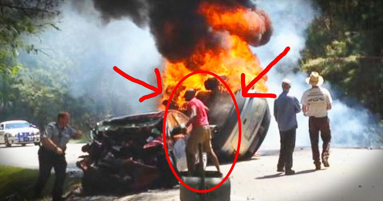 Soldier Saves 2 People From Burning Vehicle