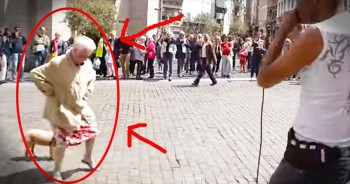 Granny Dances Hilariously To Street Performer's Tune