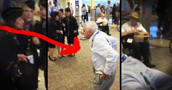 Elderly Veteran Dances In Airport