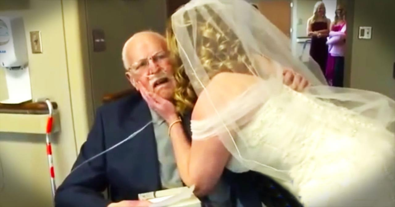 Dying Father Tearfully Walks Daughter Down The Aisle