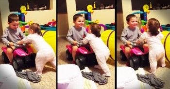 Adorable Big Brother Encourages Baby Sister To Walk