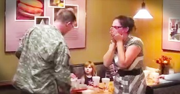Soldier Returns Home And Surprises Wife At Chick-Fil-A