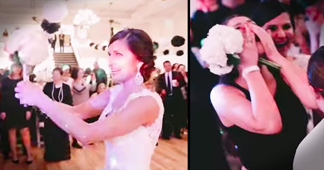 Bride And Groom Help Friends Get Engaged During Bouquet Toss