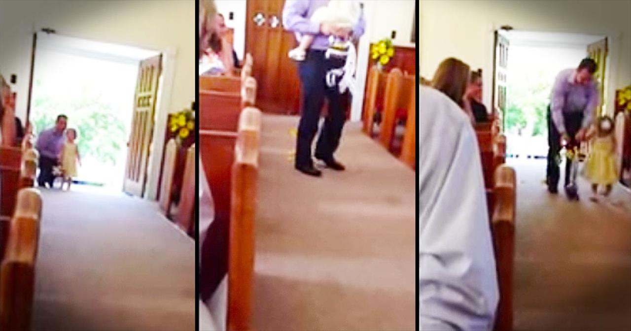 Dad Becomes Flower Girl When Daughter Is Too Nervous