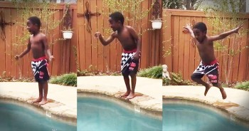 Little Boy Gives Himself The CUTEST Pep Talk To Jump In The Pool