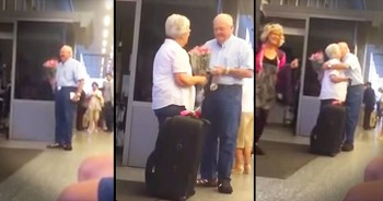 Elderly Man Surprises Wife With Flowers At Airport – THIS Is Love!