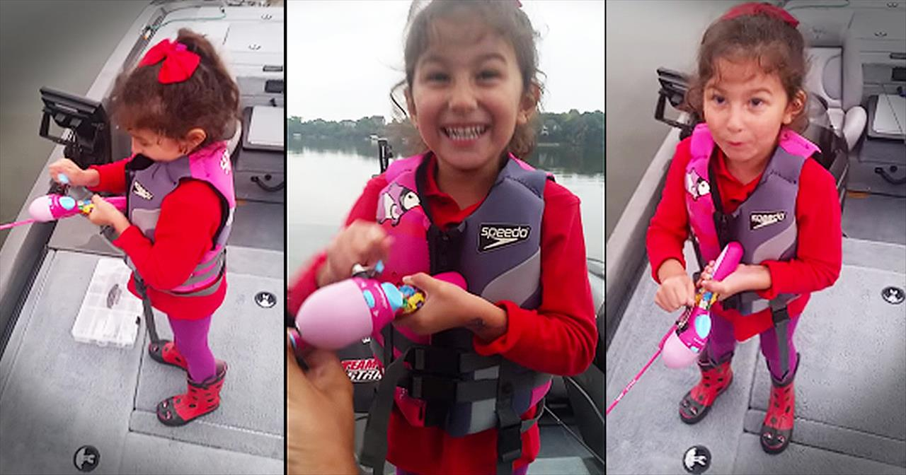 Little Girl Catches Fish With Help From Her Barbie Pole And Her Daddy