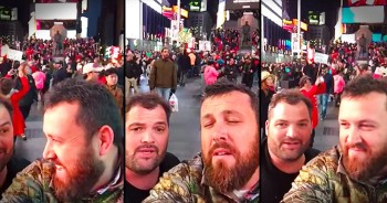 Musical Contractors Sing 'Amazing Grace' In The Middle Of Times Square