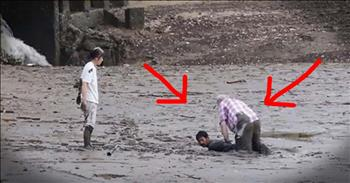 Hero Risks Life To Help Couple Stuck In The Mud