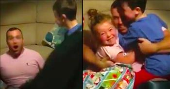 Navy Daddy Surprises 3 Children For Christmas