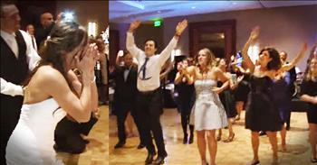 Bride's Reaction To Wedding Flash Mob Is Priceless!