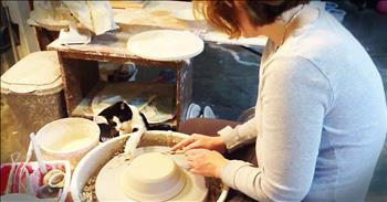 Kitty Adorably Perfects Pottery Skills