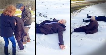 Granny Makes Snow Angel For 85th Birthday