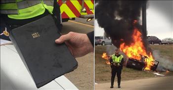 Bible Miraculously Survives Fiery Car Crash