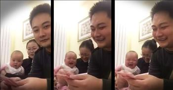 Baby Can't Stop Laughing At Dad Counting Money