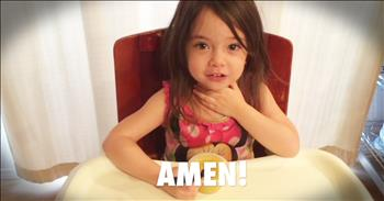 3-Year-Old Learns To Pray For Her Food