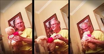 Teddy Bear Pregnancy Annoucement Leaves Grandpa In Tears