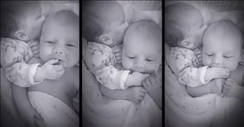 6-Week-Old Twin Calms Down Baby Sister In The Sweetest Way