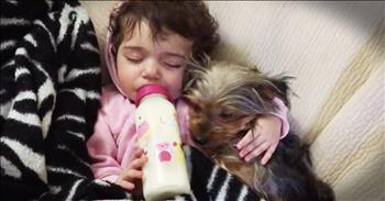 Baby Girl's Puppy Snack-Time Snuggles Are Too Cute To Miss