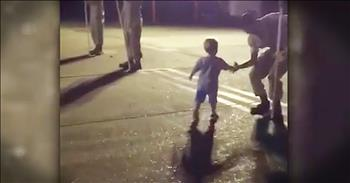 2-Year-Old Shakes Hands With Soldiers