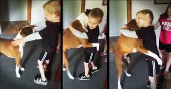 Clever Dog Learns To Hug - So Cute!