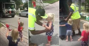 Tiny Triplets Love Their Garbage Men And It's Too Sweet To Miss!