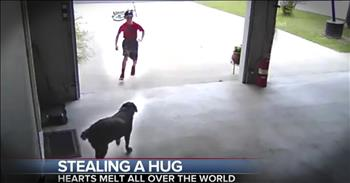 Security Footage Shows Young Boy Sneaking A Hug With Dog