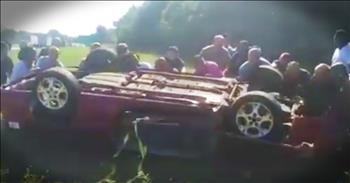 Strangers Rally Together For Stunning Car Crash Rescue