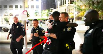 Man Spreads Joy And Love By Hugging Police Officers