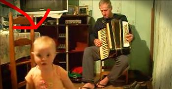 Little Girl Loves To Dance To Grandpa's Accordion