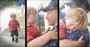 Precious Toddler Is Surprised By His Sailor Daddy's Homecoming
