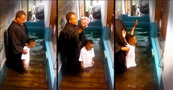 Excited 6-Year-Old 'Helps' The Pastor Baptize Him