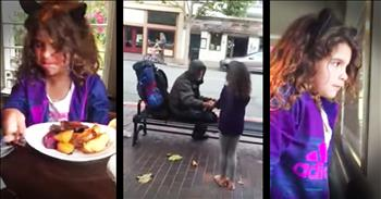 Little Girl Gives Her Lunch To The Homeless man Outside