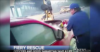 First Responders And Good Samaritans Rescue Driver In Buring Car