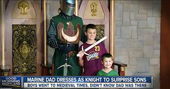 Marine Father Dresses As Knight To Surprise Kids With Homecoming