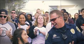 Students Surprise Their Favorite Police Officer With Flash Mob