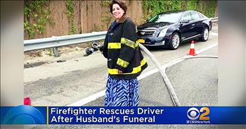 Firefighter Widow Helps Crash Victim On The Way Home From Husband's Funeral