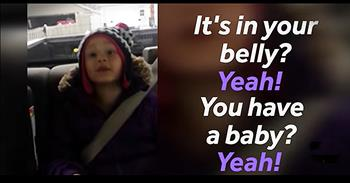 Little Girl Has Excited Reaction To Becoming A Big Sister