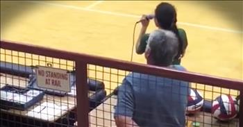 Volleyball Player Sings 'The National Anthem' A Cappella When CD Player Breaks