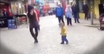 Little Girl Joins In With Irish Dancer On The Street