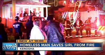 Homeless Man Runs Into Burning Building To Save Little Girl