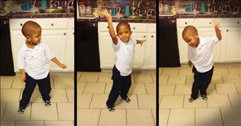 Precious Toddler Dances In The Kitchen To 'Jitterbug'