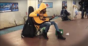 Subway Performer Belts Out 'Landslide'